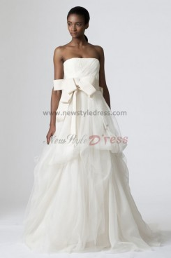 Strapless Waist With a bow Tiered tulle Elegant wedding dress nw-0208