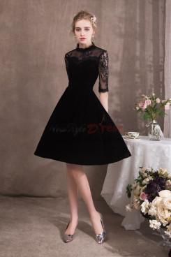 A-line Black Velvet Prom dresses Short dress NP-0413