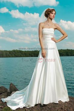 a line Beach Strapless Court Train Hot Sale wedding dresses nw-0232
