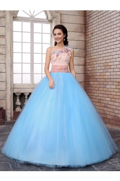 ball gown Floor-Length One Shoulder pearl Feathers Pinkish Blue Hand beading Quinceanera Dresses nq-006