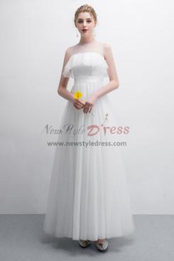Beautiful White Polka dot Tulle Prom dresses Floor-Length NP-0380