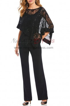 Black Lace Overlay Top Trousers set Mother special occasion pantsuits with Sequins nmo-405