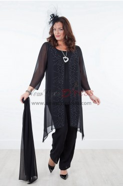 Black Mother of the bride dresses with shawl Chiffon outfit for beach wedding NEW ARRIVAL nmo-301