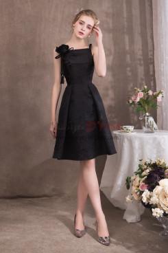 Black Spaghetti Knee-Length Prom dresses With Handmade flower NP-0415