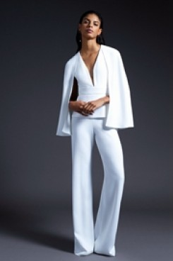 Dressy Deep B-neck bridal Jumpsuits With Cape White Wedding pantsuits wps-132