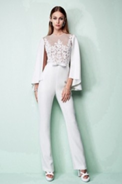 Spring Bridal Jumpsuit With Cape Wedding pants dress wps-112