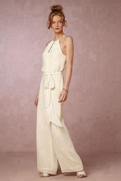 Halter Chiffon Bridal Jumpsuit bride dresses for beach wedding wps-108