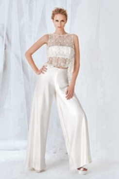 Spring Bridal jumpsuit satin wedding dress Sposa wps-102