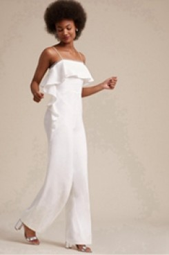 Bridal Jumpsuit Spaghetti pants for Beach weeding wps-106
