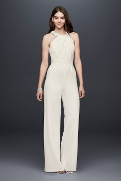 Bridal Jumpsuits Simple white Halter bride dresses wps-121