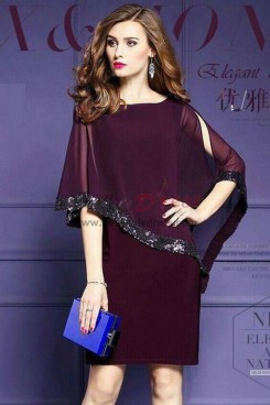 Burgundy Modern left leaning short dresses with Sequins nmo-312