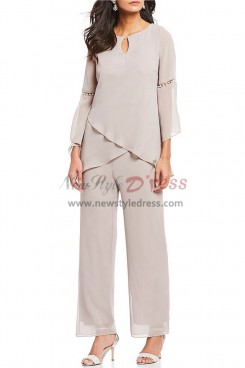 Sand Chiffon Pearl Trim Mother of the bride pants suits nmo-378