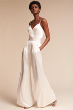 Charmeuse Spaghetti Wedding Jumpsuits dresses Wide Leg wps-126