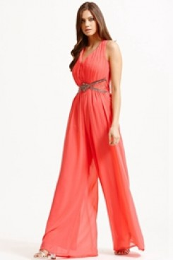 Charming watermelon red prom jumpsuit dresses Chiffon wide legs pants wps-171