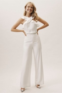 lovely Ruffles Bridal Jumpsuits for Beach wedding wps-134