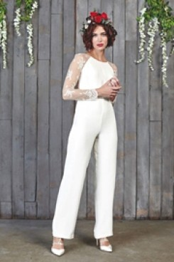Elegant lace Sleeves Wedding bridal Jumpsuits wps-144