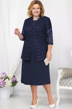 Plus size Dark navy  Mother of the bride dress with Lace jacket Classic Women's outfit nmo-563