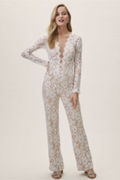 Deep V-Neck Lace Bridal Jumpsuits Wedding Pantsuit dresses wps-169