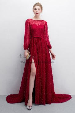 Delicate Pearl lace Burgundy Court Train Prom dresses With Puff sleeve NP-0383