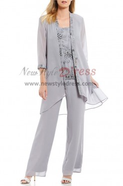 Elastic waist Gray Beaded Lace Pants suit for mother of the bride With Chiffon Jacket nmo-406
