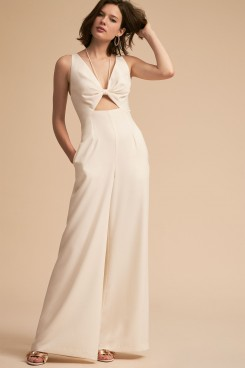 Spring Bridal Jumpsuit Ivory Bow Chest wps-146