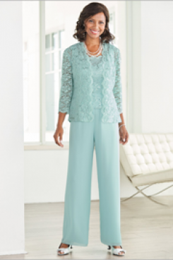 Jade Blue lace Elegant Mother of the bride pant suits with Lace jacket  Elastic waist Trousers outfit Aqua nmo-451