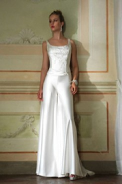 Elegant wedding  jumpsuit dress with hand beading white soft satin bridal pants  wps-031