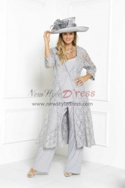 2019 New arrvial Elegant Silver gray Mother of the bride pants suit Three piece Trousers set nmo-304