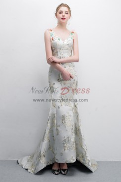 Embroidery Satin Court Train Prom dress With Hand  beading NP-0385