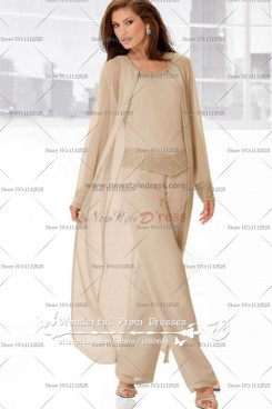 Light champagne Three Piece mother of the bride pants set with long coat nmo-046