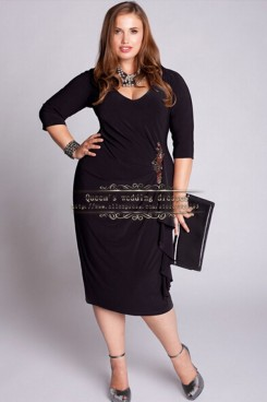 Elasticity Plus Size Ruffled Mother of Dress