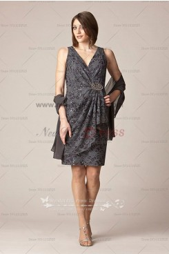 gray V-Neck lace Glamorous mother of the bride dress with chiffon shawl cms-040