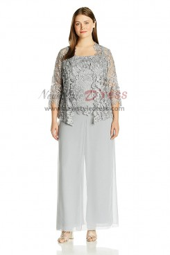 Gray Plus size Three pieces Lace mother of the bridal pantsuits nmo-417