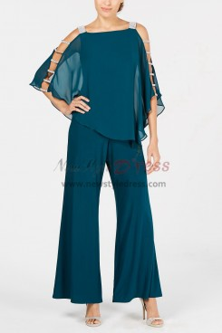 Greenblack Hunter Two piece Mother of the bride pantsuits Overlay Top Trousers set 2019 New arrival nmo-380