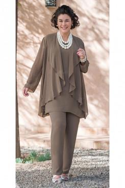 Khaki Dressy Elastic Mother of the Bride Pant Suits nmo-298
