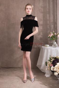 Knee-Length Sheath Black Velvet Prom dresses NP-0417