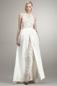 fashion sexy wedding pants dresses lace jumpsuit with detachable train  wps-026