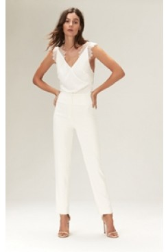 white crepe bodysuit with chantilly lace straps bridal jumpsuits wps-148