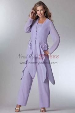 Lavender Mother of the bride pant suits dress Layered Wedding party Trouser outfit  Custom-made nmo-459