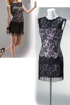 Custom black lace Elegant Above Knee Jewel Sexy Cocktail Dresses nm-0148