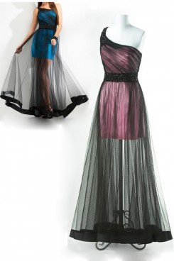 Dark Green or Pink Surface layer black tulle One Shoulder prom dresses np-0155