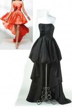 Green or black Strapless Front Short Long Back Ruched Gorgeous Homecoming Dresses np-0173