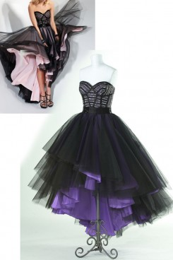 Hi-Lo black Organza Tiered Sweetheart Chest With Pleats Gorgeous Homecoming Dresses nm-0151