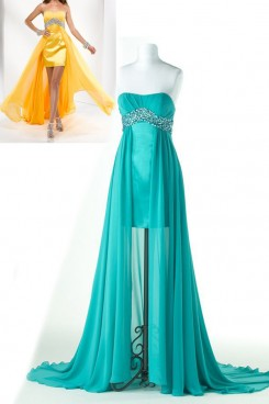 blue or Orange Chiffon Strapless Hi-Lo Chest With beading Evening Dresses np-0175