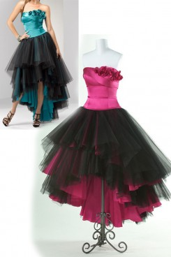 Fuchsia or Blue Hi-Lo Tiered black Tulle Strapless Prom Dresses np-0150