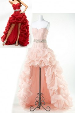 Pearl Pink or red Sweetheart Ruched Front Short Long Back Homecoming Dresses np-0174
