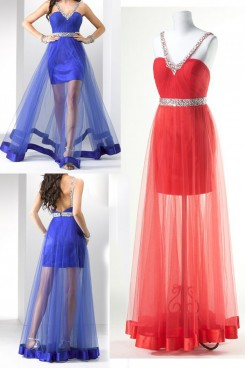 red or Blue Sweetheart Surface layer tulle Gorgeous Chest With beading Prom Dresses np-0159