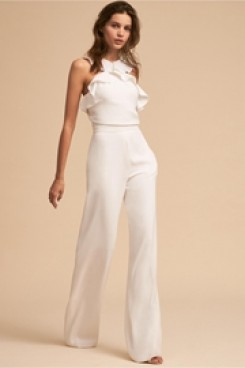 Little White Dresses Bridal Jumpsuits Ruffles Beach Wedding dress wps-136
