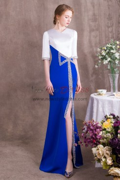 Mermaid Prom dresses Royal Blue and white Satin Sexy slit NP-0377
