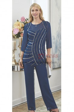 Navy Beaded Trouser outfit Elegant Mother of the bride pant suits Chiffon dress Elastic waist nmo-460